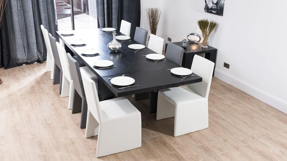 Modern Chunky Black Ash Dining Set | Seats 8 14 | White Or Grey Chairs With Best And Newest Extending Black Dining Tables (Image 15 of 20)