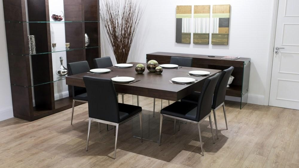 Modern Dark Wood Square Dining Table | Glass Legs | Trendy Throughout Most Popular Dark Wood Square Dining Tables (Image 14 of 20)