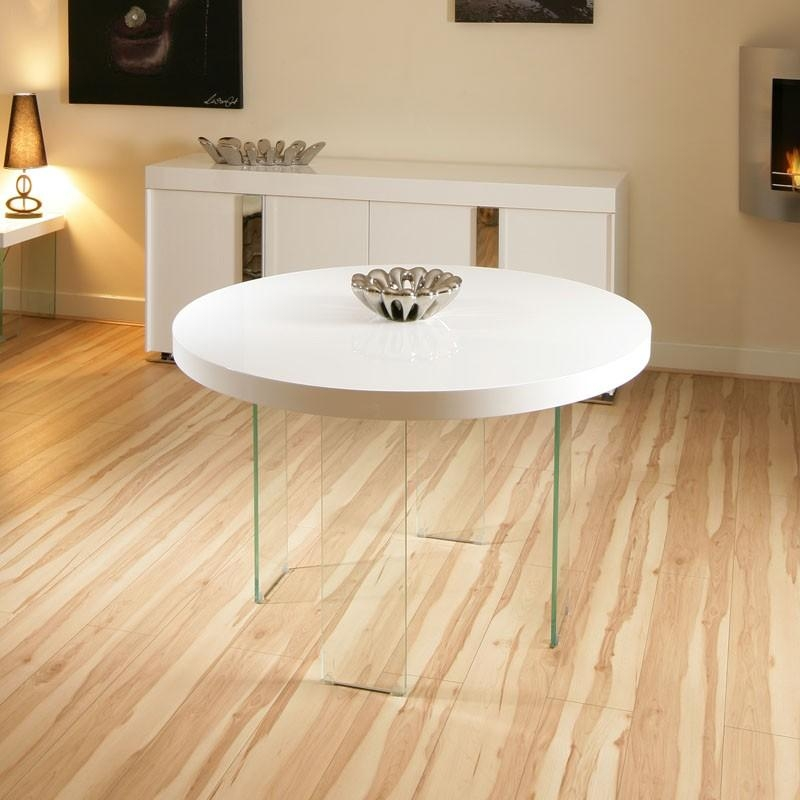 Modern Designer Large Round High Gloss White Dining Table Glass For Latest Round High Gloss Dining Tables (View 16 of 20)