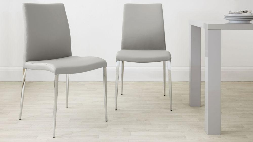 Modern Dining Chair | Leather White And Grey | Chrome Legs Inside Most Current Chrome Leather Dining Chairs (View 14 of 20)
