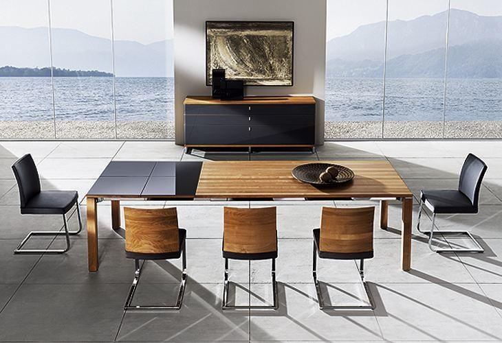 Modern Dining Room With Bench Six Black Leather Backrest Dining Intended For Newest Red Gloss Dining Tables (Image 11 of 20)