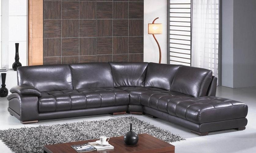 Modern Espresso Leather Sectional Sofa Set #3922 In Richmond Sectional Sofas (Image 4 of 20)