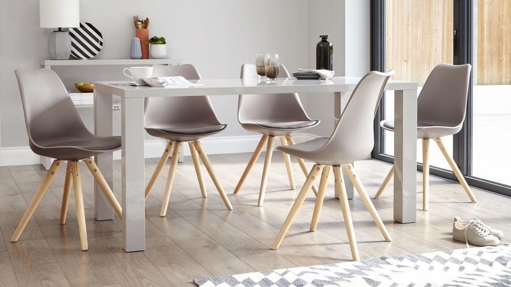 Modern Grey Gloss Dining Table | 6 Seater Dining Table | Uk Intended For Gloss Dining Sets (Image 17 of 20)
