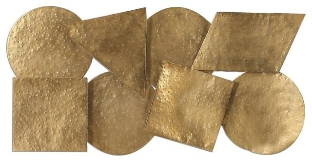 Modern Hammered Gold Geometric Shapes, Wall Art Sculpture With Regard To Hammered Metal Wall Art (Image 13 of 20)