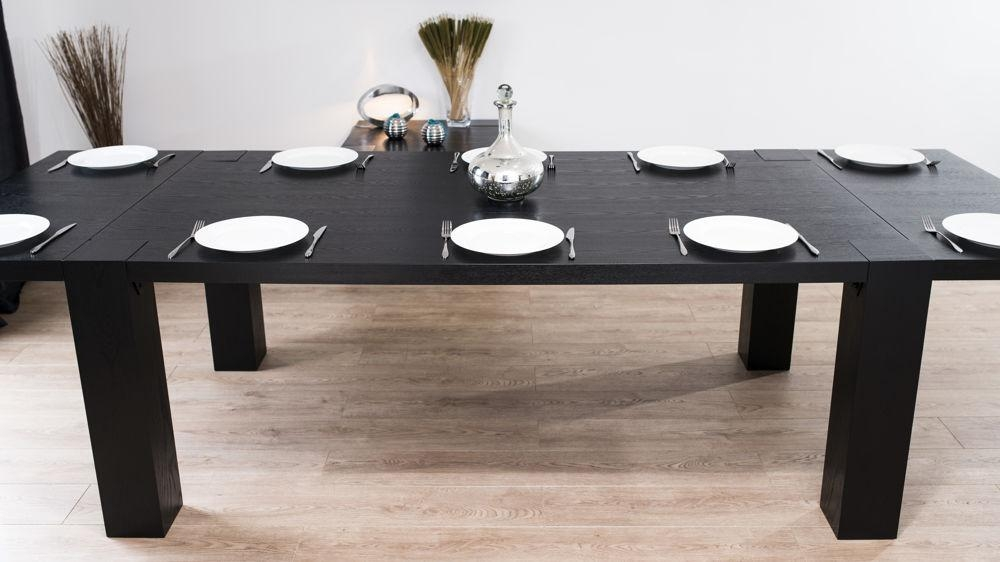 Modern Large Extending Black Ash Dining Table | Chunky Legs | Seats 14 Throughout Current Black Gloss Extending Dining Tables (View 8 of 20)