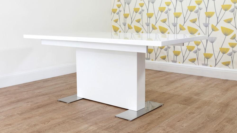Modern Large Rectangular White Gloss Extending Dining Table Regarding 2017 White Gloss Extendable Dining Tables (Image 12 of 20)