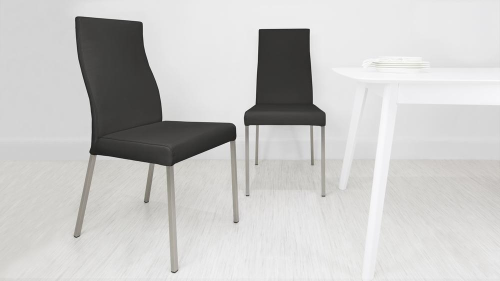 Modern Real Leather Dining Chairs | Genuine Soft Leather | Metal Legs Regarding Real Leather Dining Chairs (View 1 of 20)