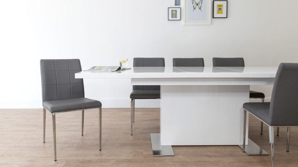 Modern Rectangular White Gloss Extending Dining Table | Uk Intended For Most Popular White Gloss Extendable Dining Tables (Image 13 of 20)
