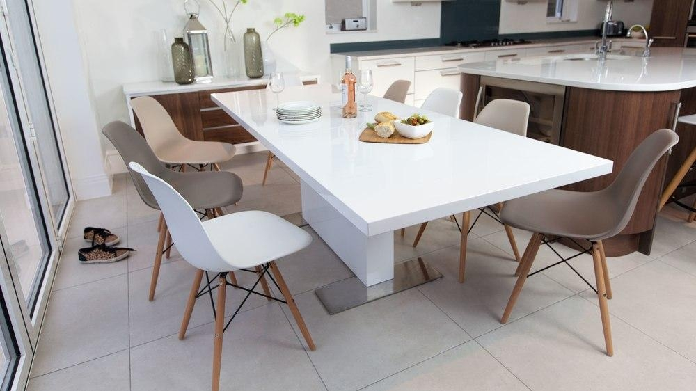 Modern Rectangular White Gloss Extending Dining Table | Uk With Most Recent White Gloss Extendable Dining Tables (Image 14 of 20)