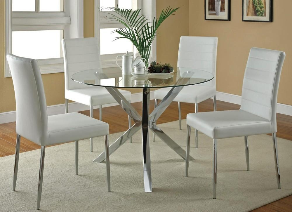 Modern Round Glass Kitchen Table Set Within Best And Newest Glass Dining Tables White Chairs (Image 18 of 20)
