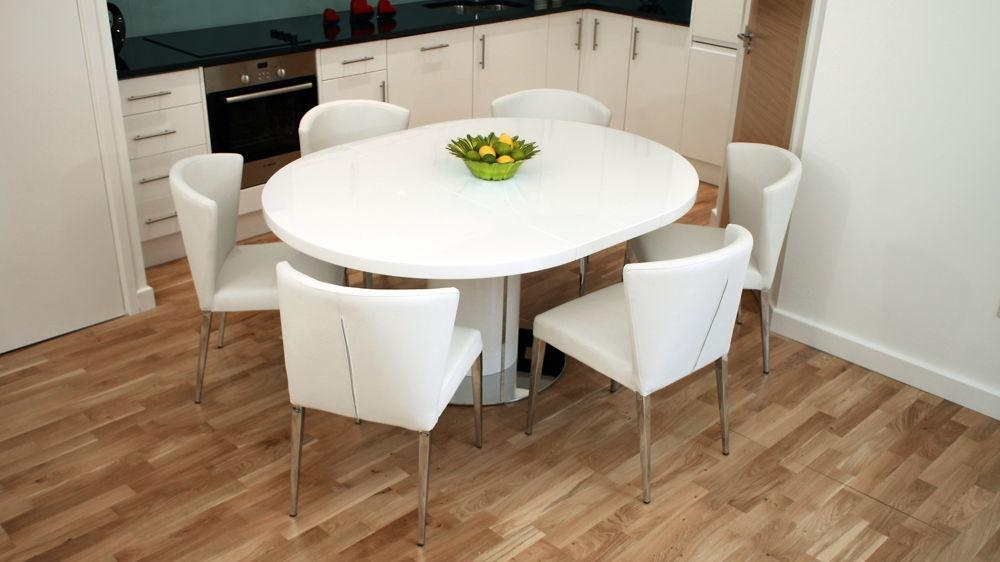 Modern Round White Gloss Extending Dining Table And Chairs | Seats 4 6 In Newest White Oval Extending Dining Tables (Image 16 of 20)