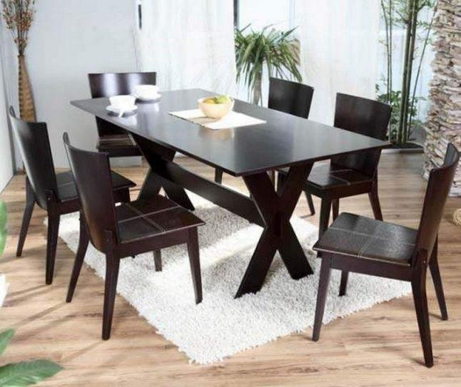 Modern Solid Wood Dining Table For Fine Dining | Nytexas Regarding Most Recent Dark Wood Dining Tables And 6 Chairs (Image 16 of 20)