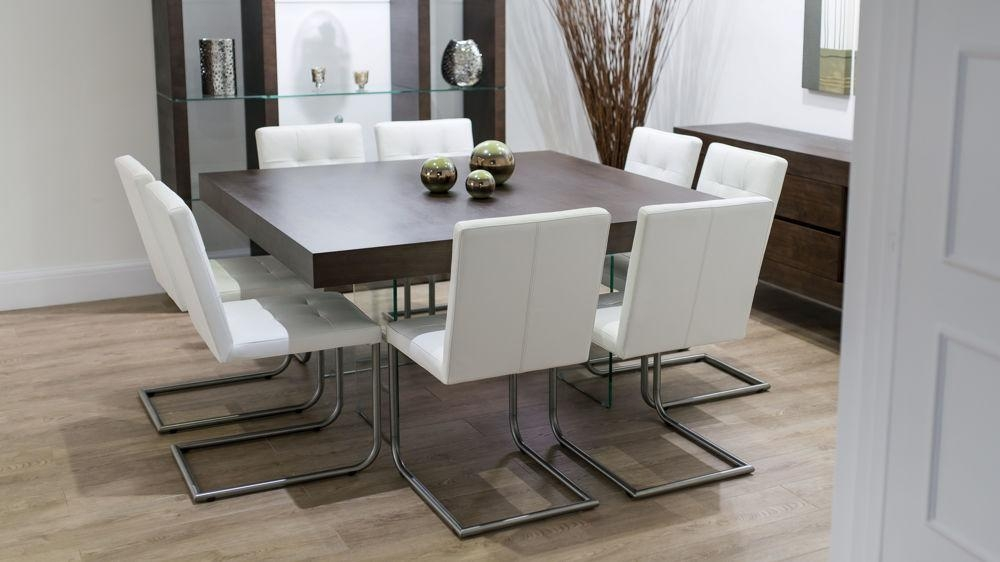 Modern Square Dark Wood Dining Set | Glass Legs | Real Leather Chairs With Regard To Best And Newest Dark Wood Square Dining Tables (Image 15 of 20)