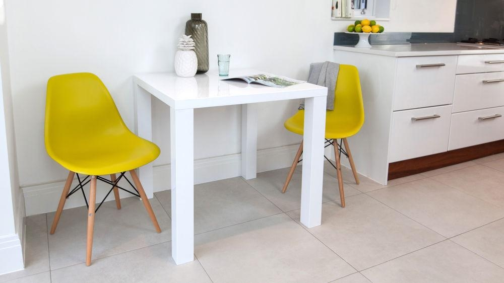 Modern Square White High Gloss Table | 4 Seater | Uk With Most Recently Released Small 4 Seater Dining Tables (Image 11 of 20)
