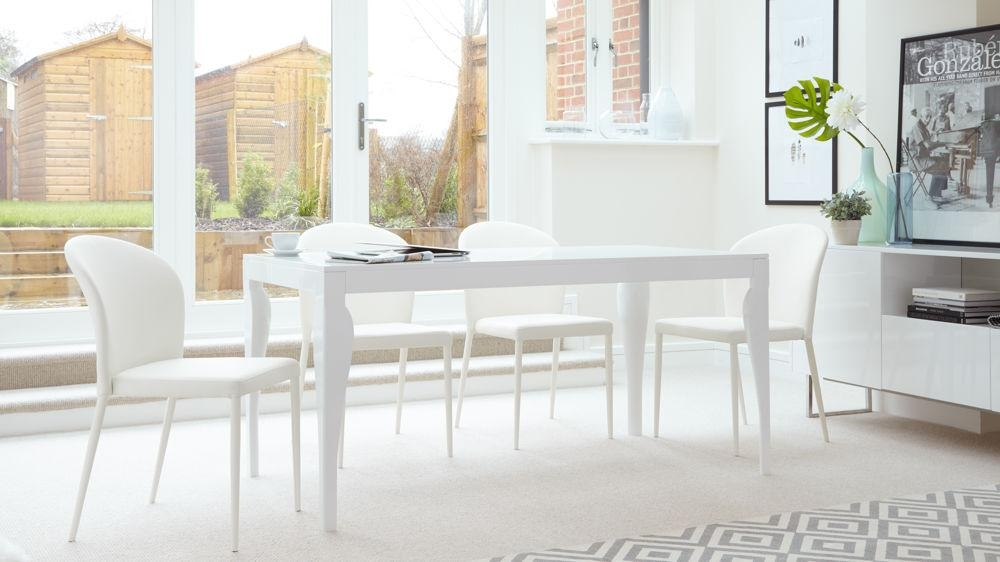 Modern White Gloss 6 Seater Dining Set | Faux Leather | Uk Within Recent White Gloss Dining Sets (Image 11 of 20)