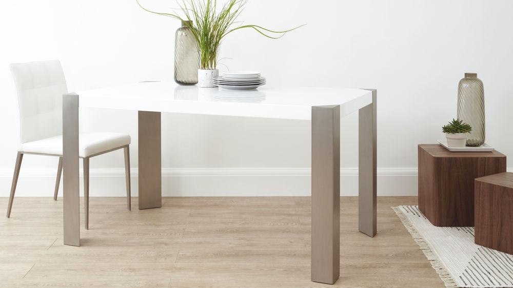 Modern White Gloss Dining Table| Brushed Steel Legs 6 Seater Inside Gloss Dining Tables And Chairs (Image 15 of 20)