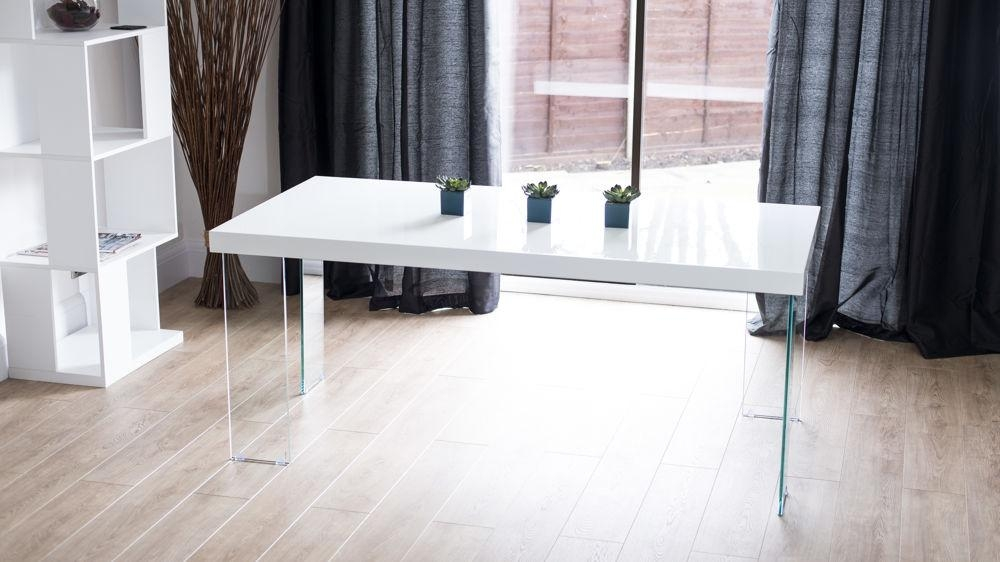 Modern White Gloss Dining Table | Glass Legs | Seats 6 – 8 Pertaining To Most Popular White Gloss And Glass Dining Tables (Image 13 of 20)