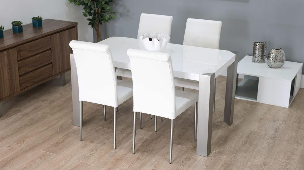 Modern White Gloss Dining Table With Real Leather Dining Chairs Intended For White Gloss Dining Tables And 6 Chairs (Image 11 of 20)