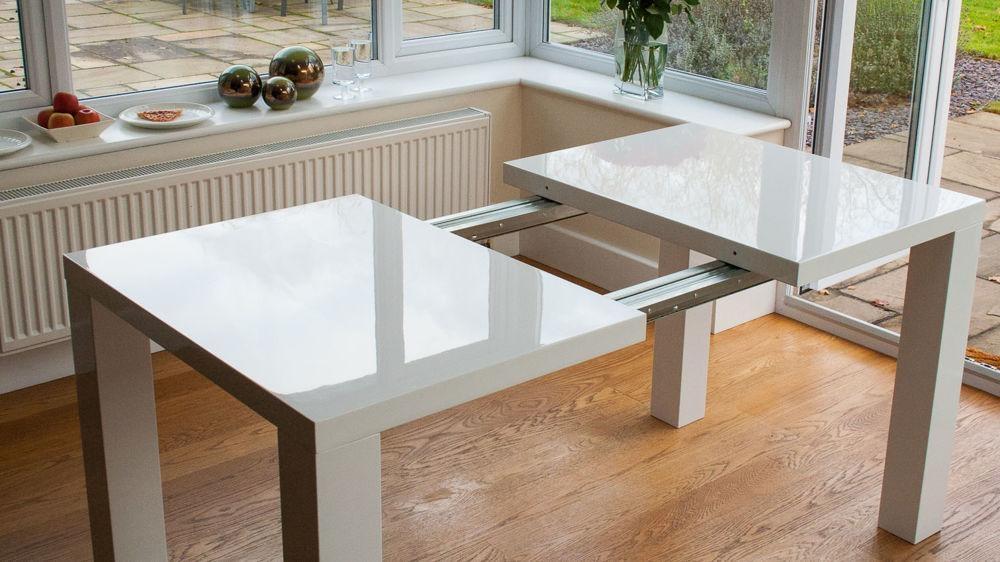 Modern White High Gloss Extending Dining Set | Uk Intended For 2018 White Gloss Dining Sets (Image 12 of 20)