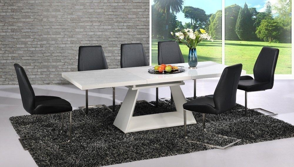 Modern White High Gloss Extending Dining Table And 8 Black Chairs With Regard To Best And Newest Black Gloss Extending Dining Tables (View 15 of 20)