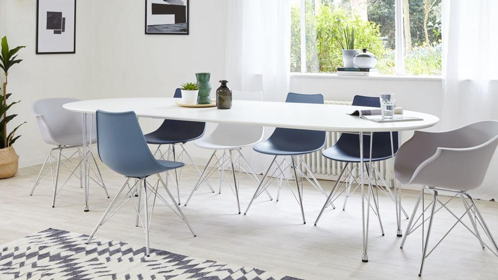 Modern White Satin Oval Extending Dining Table | 6 10 Seater Throughout Latest White Oval Extending Dining Tables (Image 17 of 20)