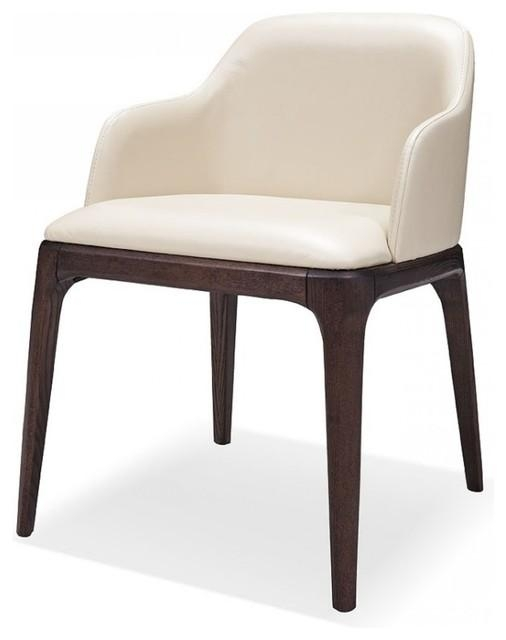 Modrest Margot Modern Cream Eco Leather Dining Chair, Set Of 2 Within Cream Leather Dining Chairs (Image 17 of 20)