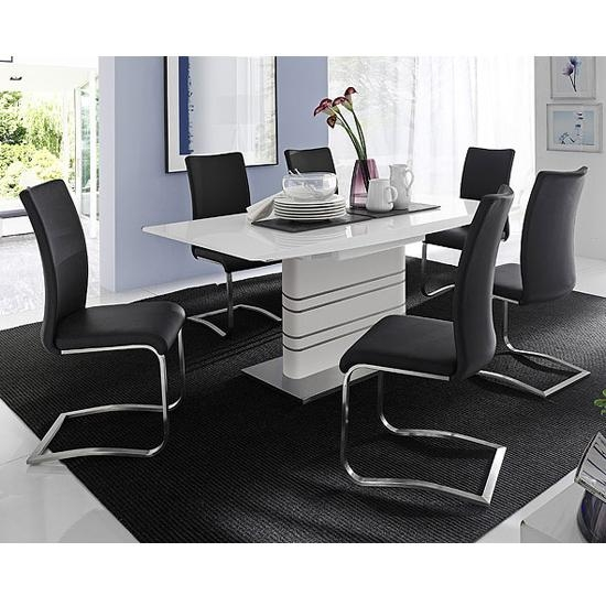 Modus White Gloss Extendable Dining Set And 6 Arco Black Regarding Most Recently Released Black Gloss Dining Tables And 6 Chairs (View 7 of 20)