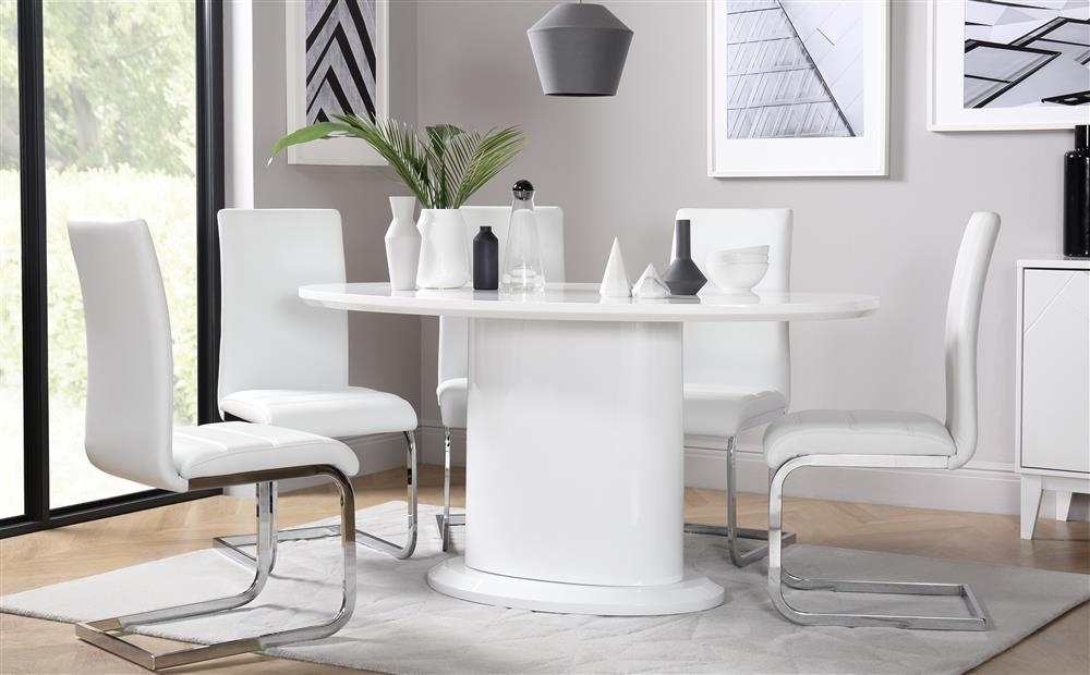 Monaco Oval White High Gloss Dining Table With 4 Perth White Pertaining To Latest Perth White Dining Chairs (Image 12 of 20)