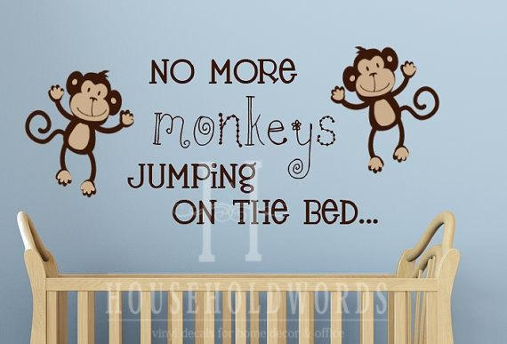 Monkey Decal No More Monkeys Jumping On The Bed Wall Inside No More Monkeys Jumping On The Bed Wall Art (Image 5 of 20)
