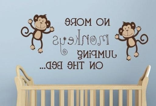 Monkey Decal, No More Monkeys Jumping On The Bed Wall Lettering With No More Monkeys Jumping On The Bed Wall Art (Image 6 of 20)