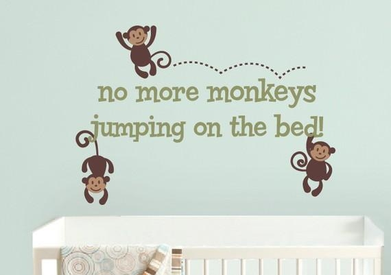 Monkeys Jumping On The Bed Wall Decal Monkey Wall Decals Pertaining To No More Monkeys Jumping On The Bed Wall Art (Image 7 of 20)
