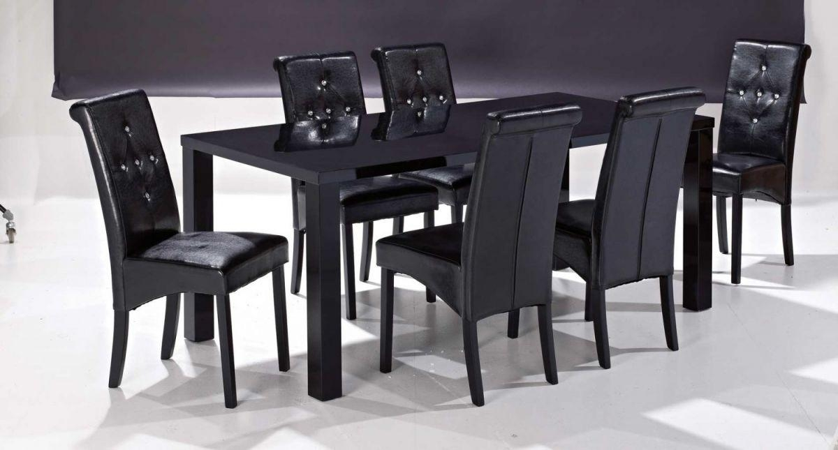 Monroe Dining Table With 6 Chairs In Gloss Black | Blue Ocean With 2018 Black Gloss Dining Tables And 6 Chairs (View 6 of 20)
