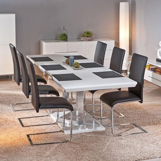 Monton Extendable White Gloss Dining Table With 6 Trishell With White Gloss Dining Tables And 6 Chairs (View 14 of 20)
