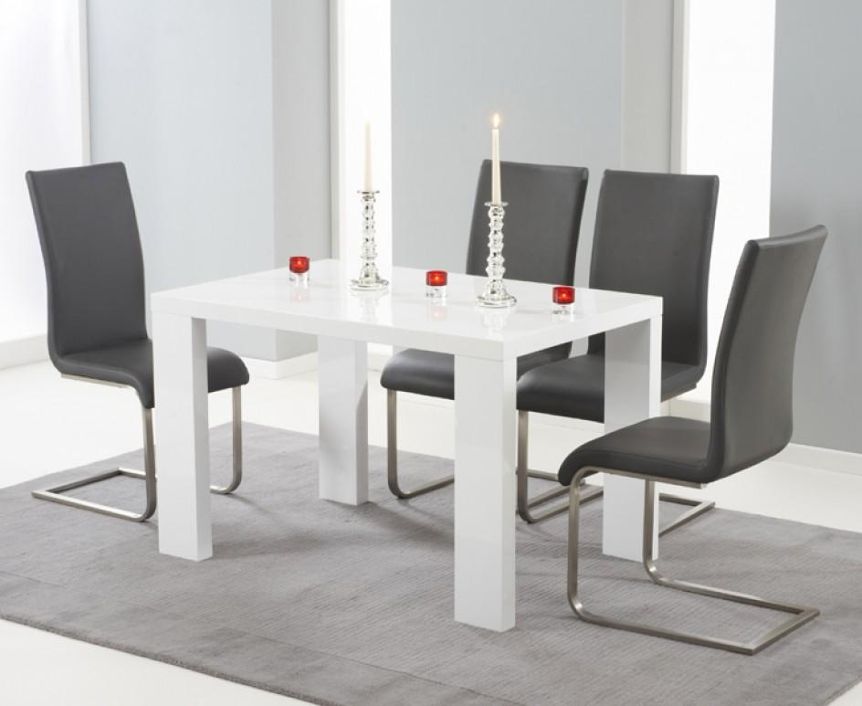 Monza 120Cm White High Gloss Dining Table With Malaga Chairs | The Inside White Gloss Dining Tables 120Cm (Image 14 of 20)