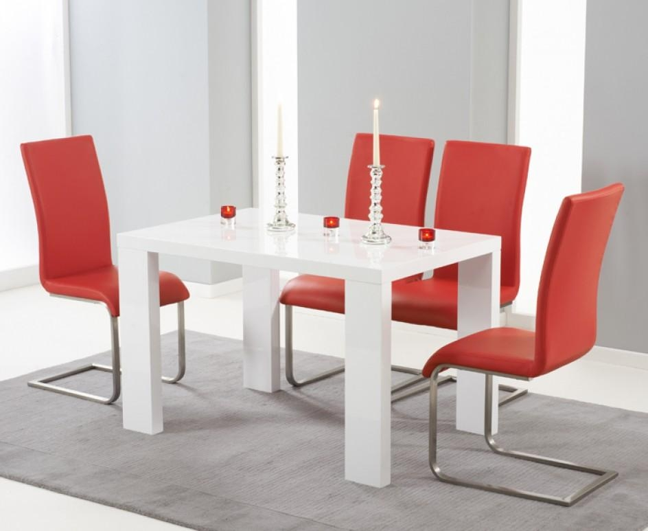 Monza 120Cm White High Gloss Dining Table With Malaga Chairs | The With Recent Red Gloss Dining Tables (Image 12 of 20)