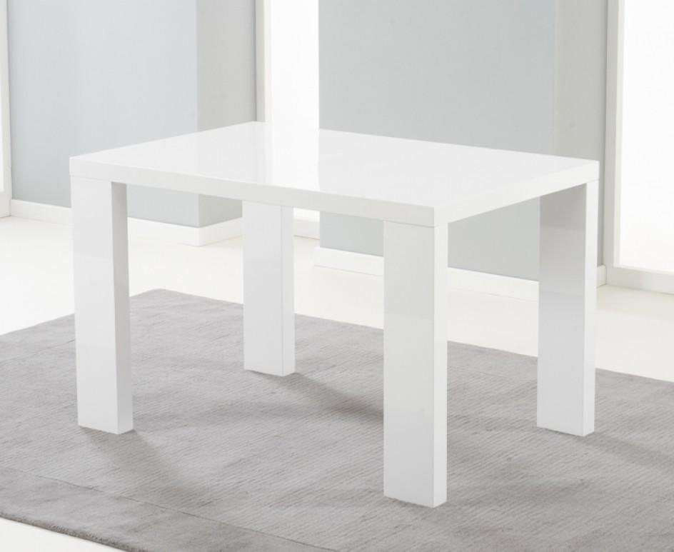 Monza 120Cm White High Gloss Dining Table With Malaga Chairs | The Within White Gloss Dining Tables 120Cm (Image 15 of 20)