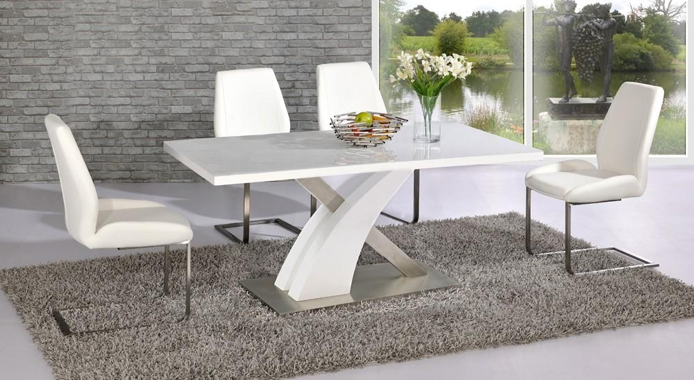 Morgan High Gloss 5 Piece Dining Table Set – Choice Of Colours Throughout White High Gloss Dining Tables 6 Chairs (View 16 of 20)