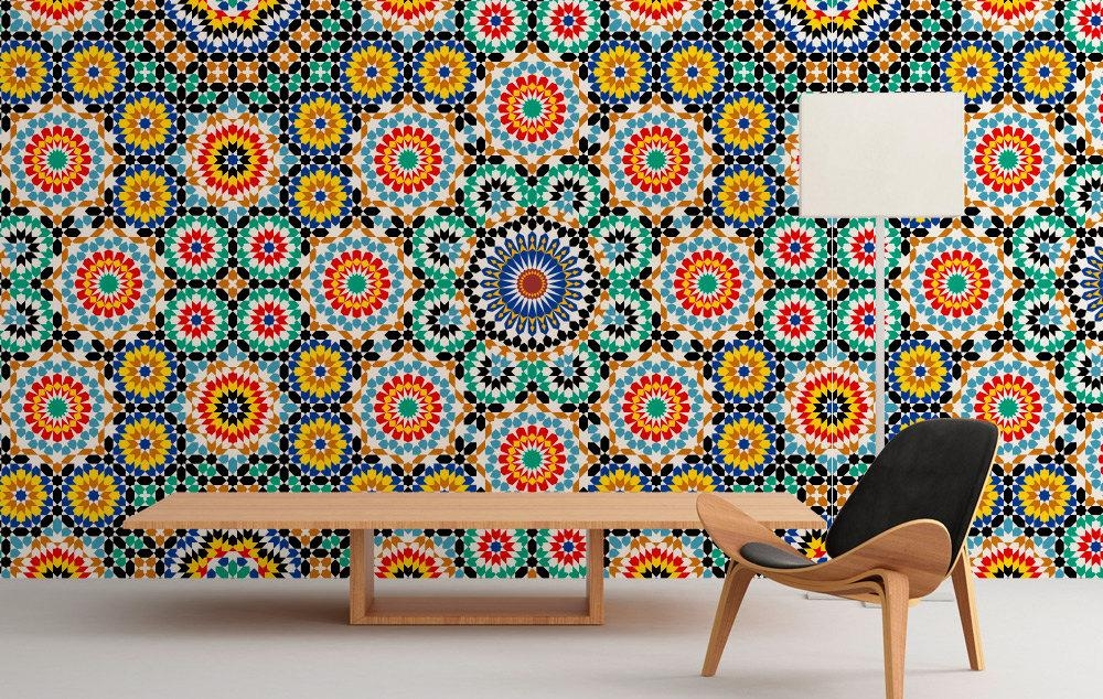 Moroccan Pattern Wall Art – Moonwallstickers Within Pattern Wall Art (Image 15 of 20)