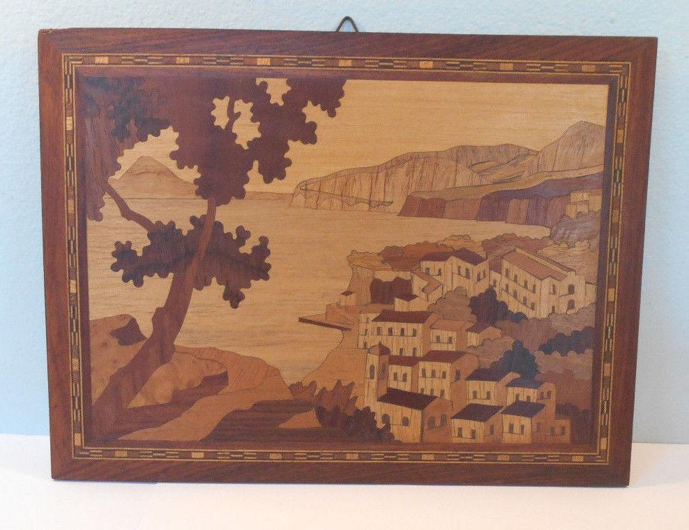Mosaic Inlaid Wood Marquetry Vtg Sorrento, Italy Wall Hanging Pertaining To Italian Inlaid Wood Wall Art (Image 12 of 20)