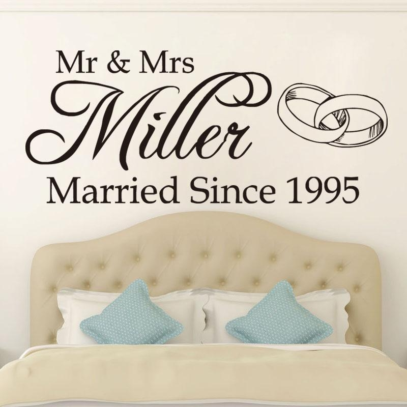 Mr Mrs Wedding Romantic Vinyl Wall Art Stickers Home Decor For Mr And Mrs Wall Art (Image 12 of 20)