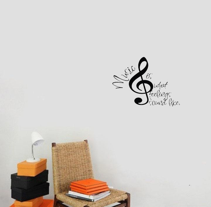 Music Is What Feelings Sound Like Wall Decals Vinyl Stickers Home Intended For Music Notes Wall Art Decals (Image 10 of 20)