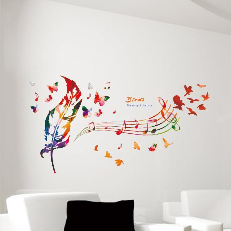 Music Note Colorful Feather Wall Decals Butterfly Pattern The Song With Regard To Music Notes Wall Art Decals (Image 11 of 20)