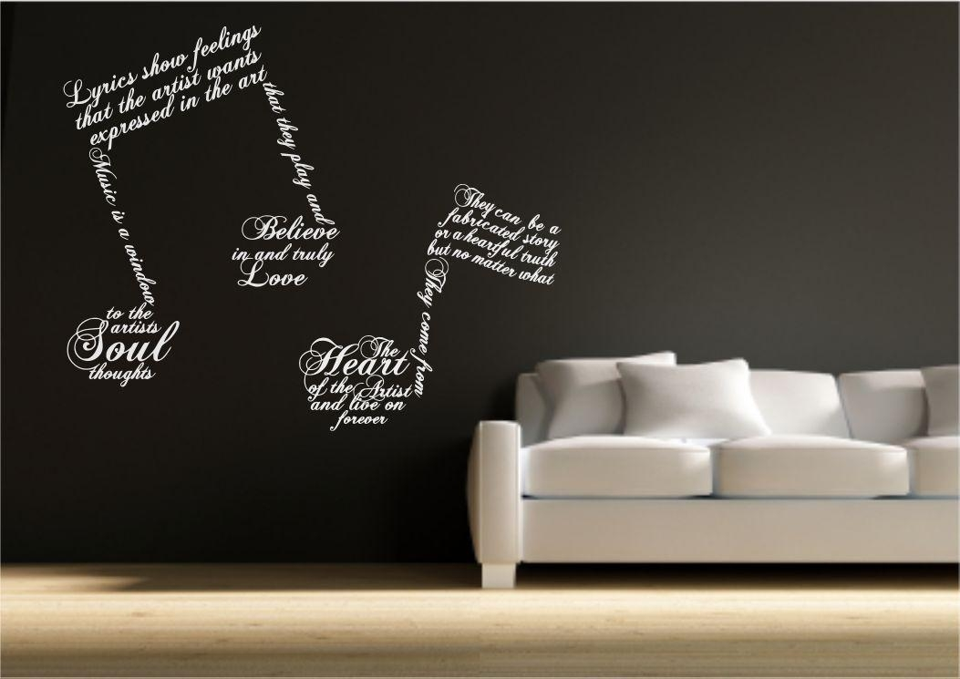 Music Note Symbols Wall Art Sticker Quote Decal Transfer Mural Inside Music Notes Wall Art Decals (Image 12 of 20)