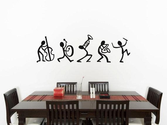 Music Stick Men Bedroom Wall Art Sticker Picture Decal Inside Wall Art For Mens Bedroom (Image 16 of 20)