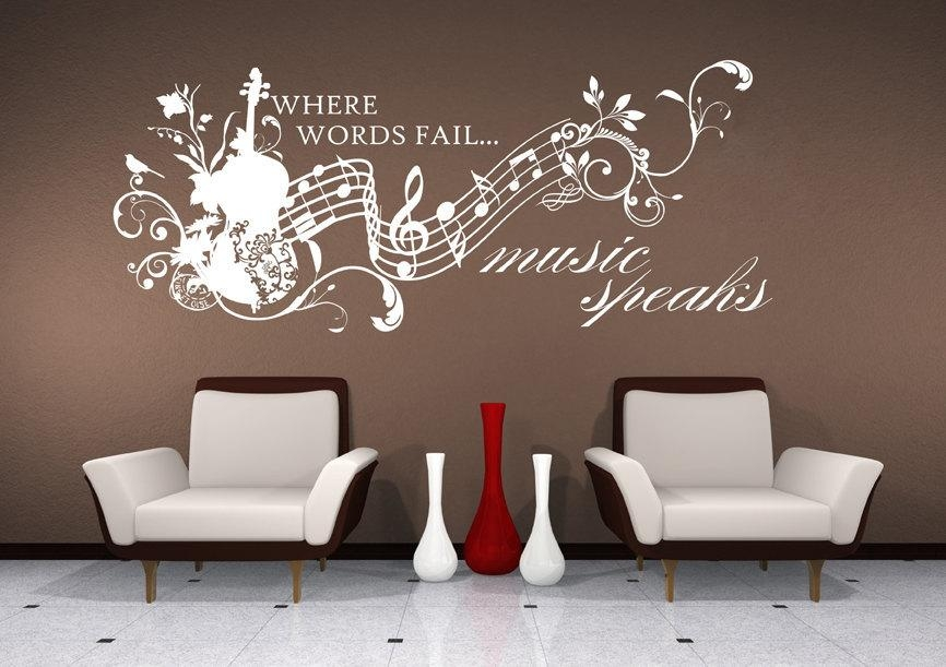 Music Wall Decals Music Speaks Collage Vinyl Lettering Text Throughout Wall Cling Art (Image 11 of 20)