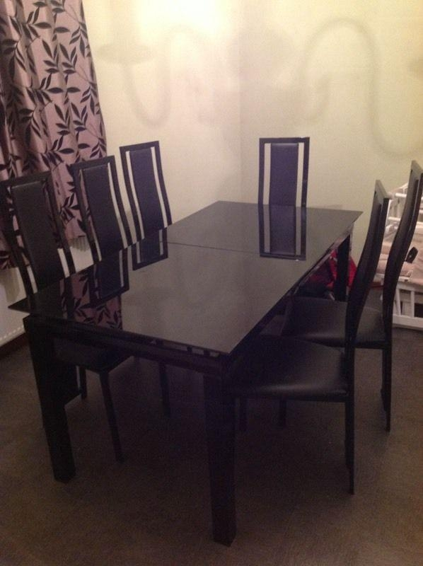 Must Go! Harvey Black Glass 'noir' Extending Dining Table And 6 Throughout 2017 Black Glass Extending Dining Tables 6 Chairs (Image 18 of 20)