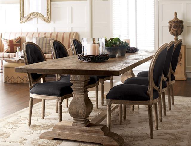 Natural Dining Table & Black Linen Chairs – Traditional – Dining With Recent Dining Room Tables (Image 17 of 20)