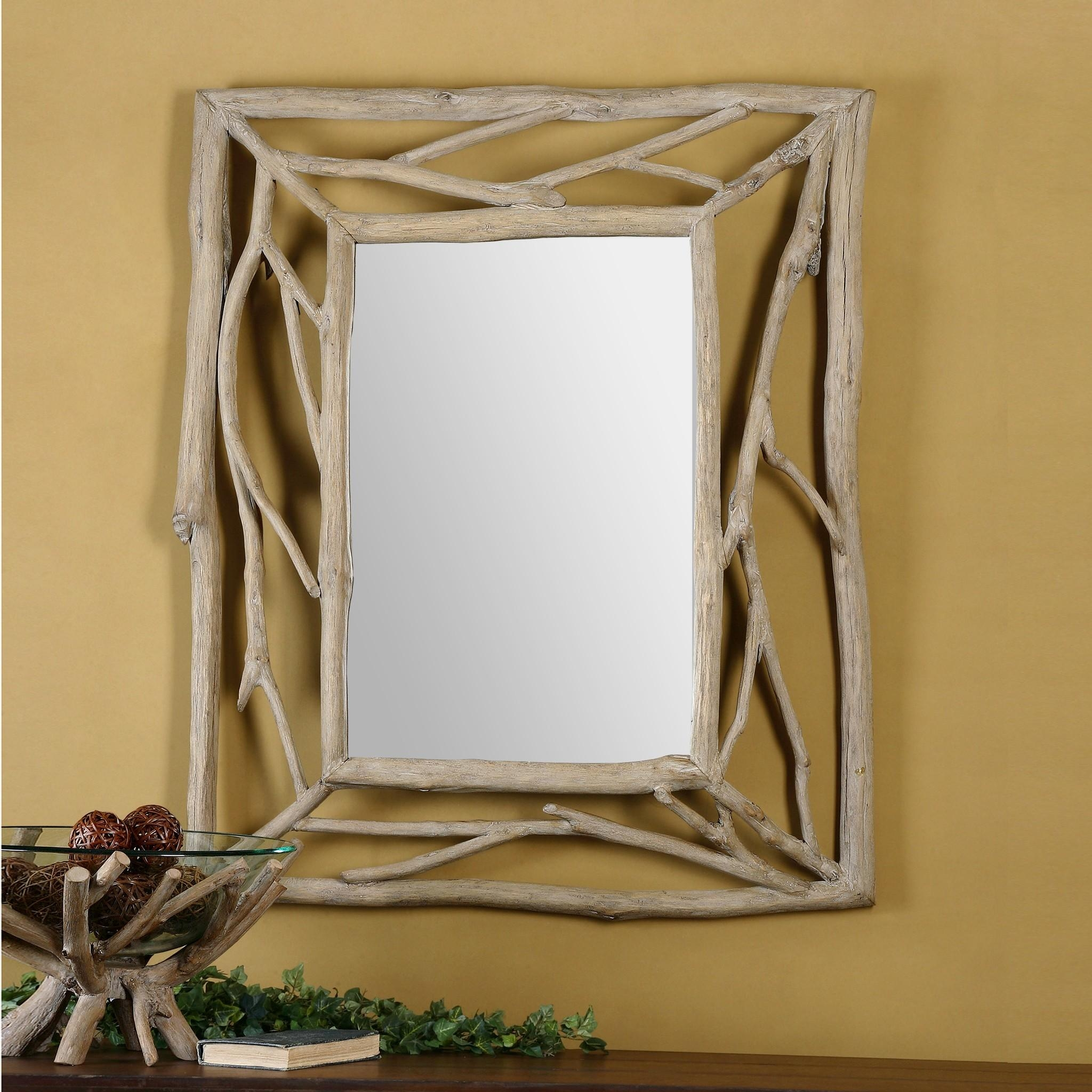 Natural Wooden Branch As The Frame With Rectangle Mirror On The Regarding Natural Wood Framed Mirrors (Image 11 of 20)