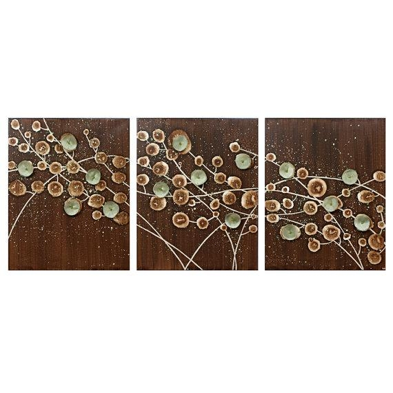Nature Wall Art Abstract Canvas Art Large Triptych Painting Of For Brown And Turquoise Wall Art (Image 14 of 20)