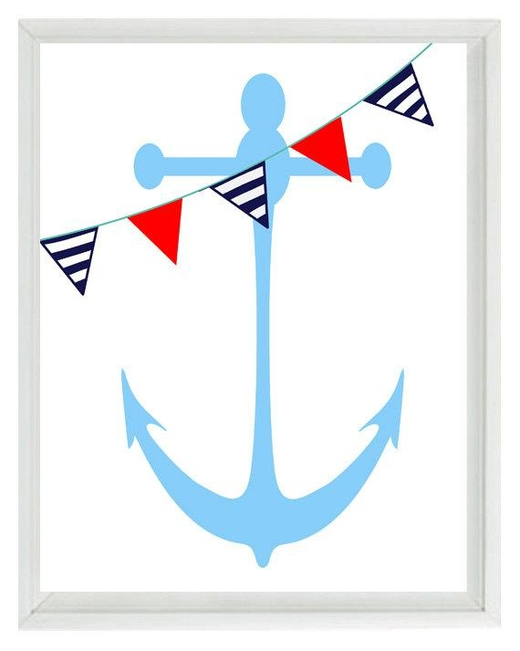 Nautical Nursery Anchor Wall Art Print Navy Blue Red White Pertaining To Red White And Blue Wall Art (Image 12 of 20)
